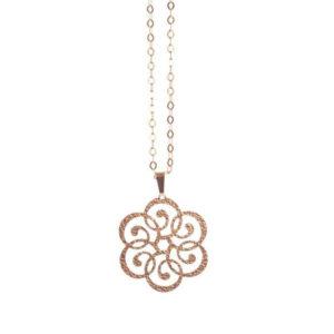 饰有过去花朵图案的银项链锤打玫瑰金6