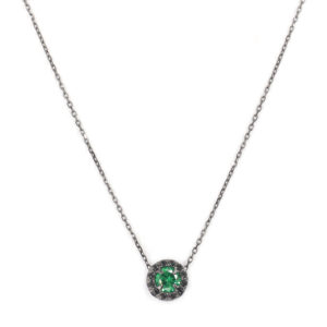 黑色银项链单人圆形绿色7