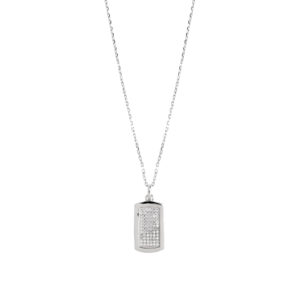 Collier argent pendentif plaque scintillante rhodié 6