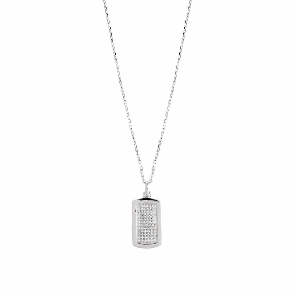 Collier argent pendentif plaque scintillante rhodié 2