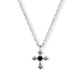 Collier argent petite croix spinelle noir 7