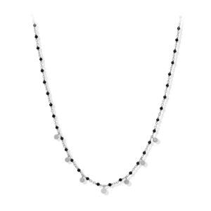 Collier argent petites perles pampilles et spinelle noire 5