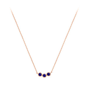 银项链海军宝石粉红色链8