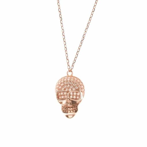 Silver necklace rose gold plated skull 3