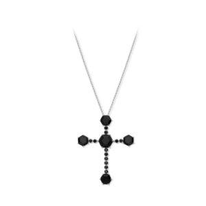 8纯银铑铑项链配黑色尖晶石XNUMX