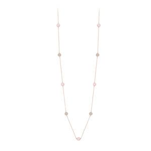 粉色银色项链水晶吊坠项链粉色和灰色宝石4