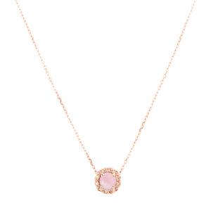圆形单人粉红银项链6