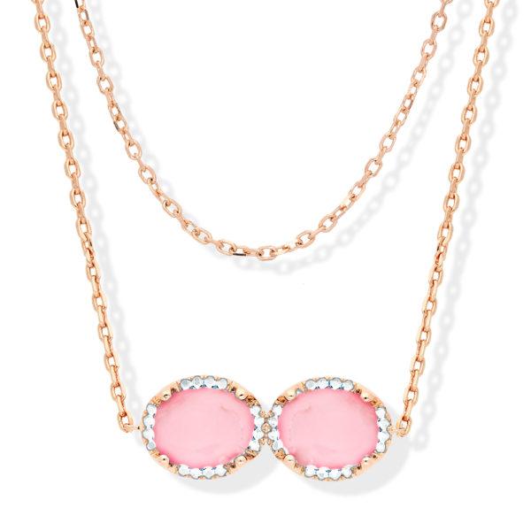 银项链粉红色多人纸牌玫瑰套装3