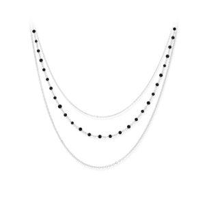 银项链三重项链小黑尖晶石珍珠5