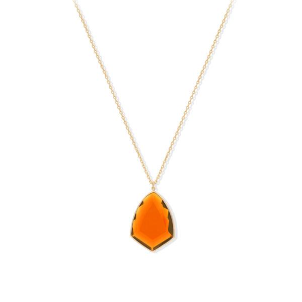 金色银色徽章项链,配以橙色宝石1