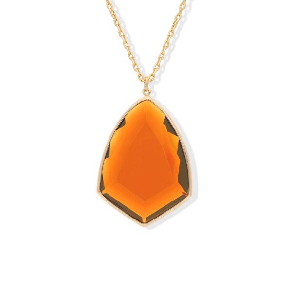 金色银色徽章项链,配以橙色宝石3