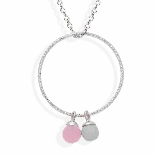 Rhodium silver circle necklace with pink moonstone and labradorite 3