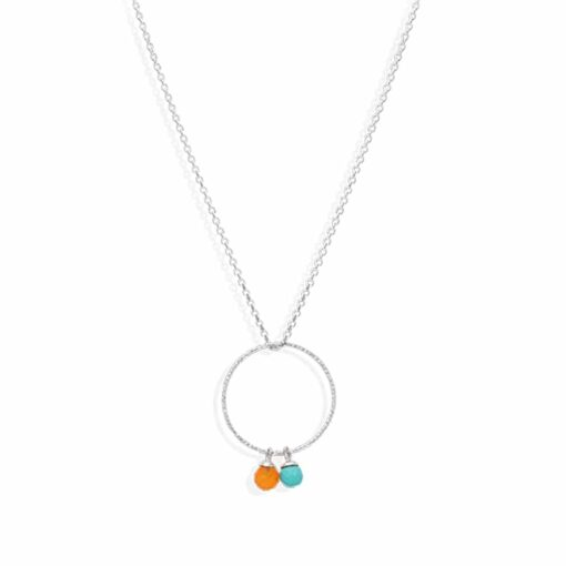 Circle silver necklace rhodium turquoise and real carnelian 3
