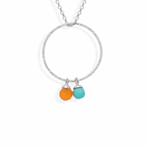 Circle silver necklace rhodium turquoise and real carnelian 5