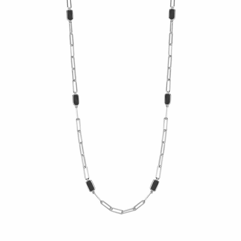 Collier chaine argent celine pierre onyx 4