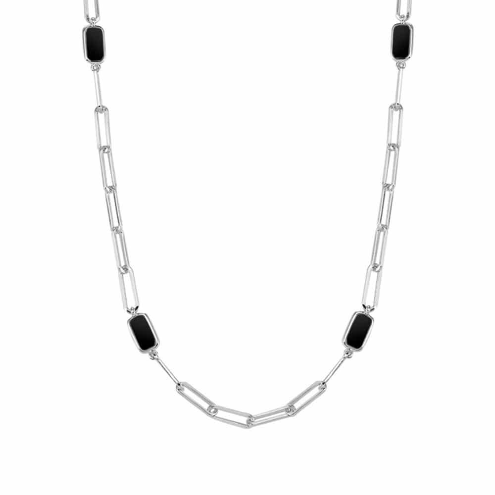 Collier chaine argent celine pierre onyx 3