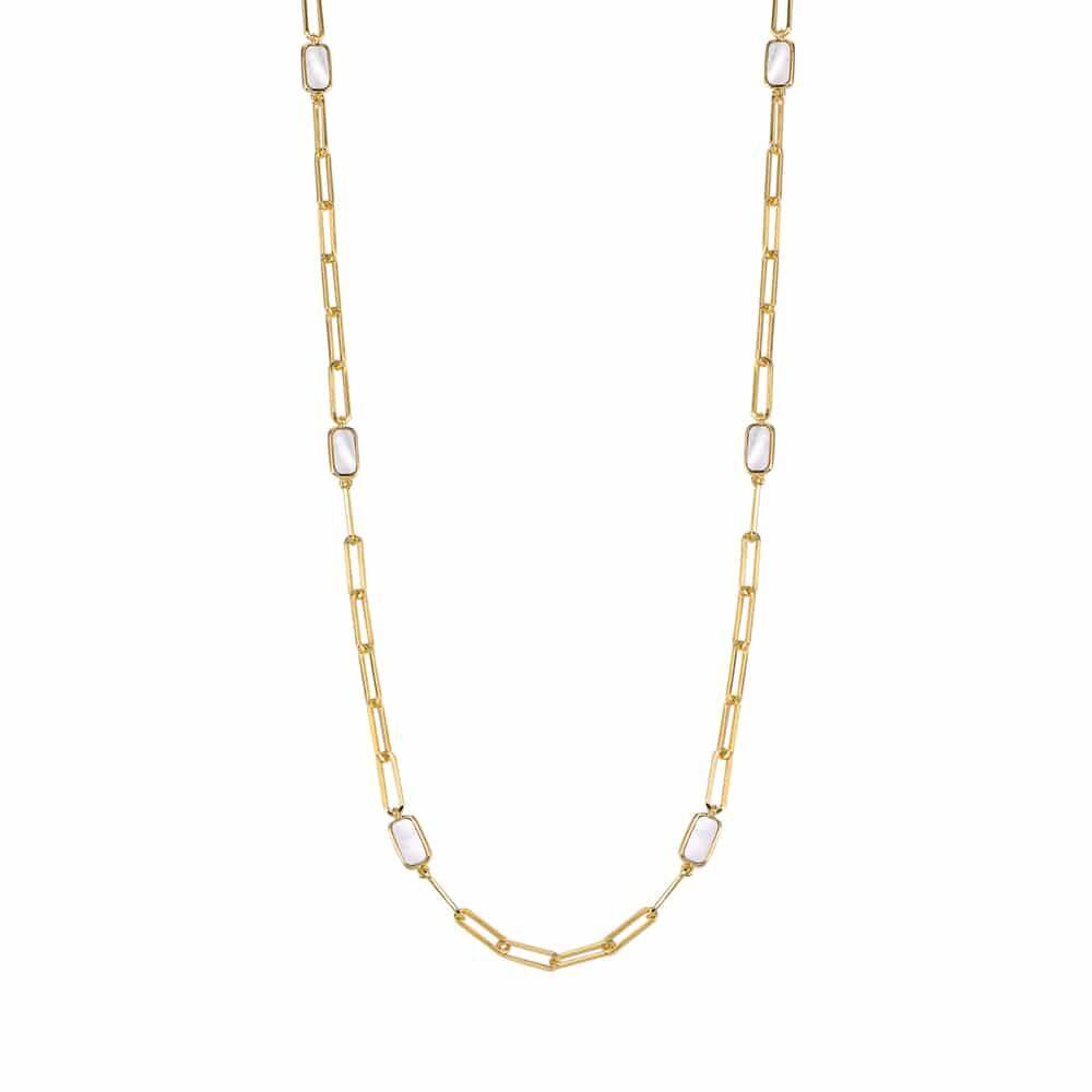 Collier chaine argent doré celine pierre nacre 4