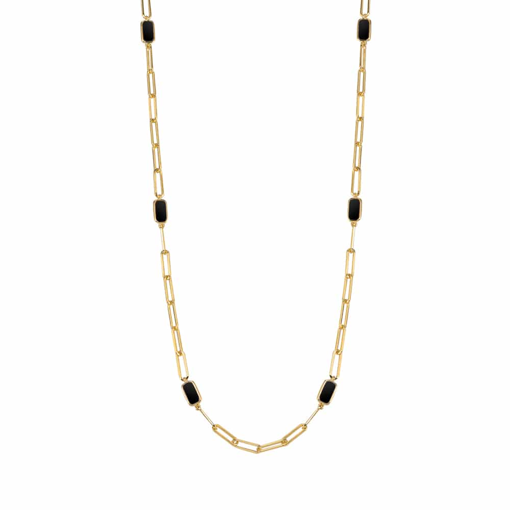 Collier chaine argent doré celine pierre onyx 3