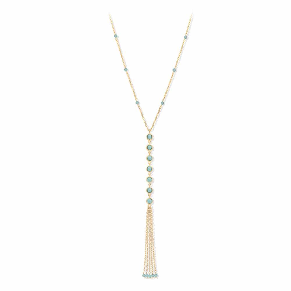 Collier cravate argent doré pompon pierres turquoise 3