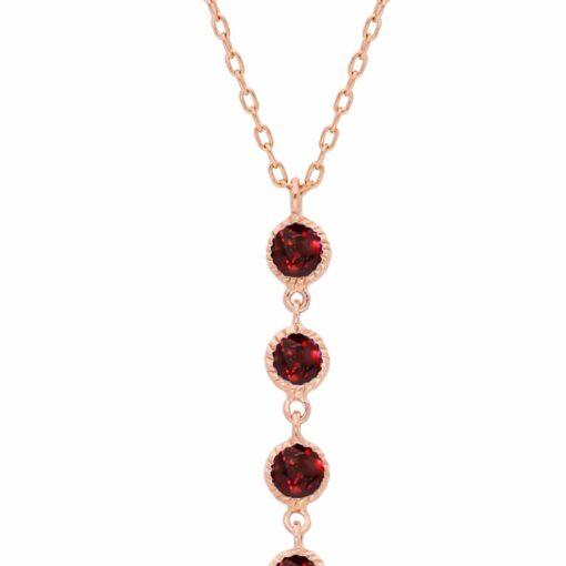 Collier cravate argent rose pompons pierres naturelles grenat 4