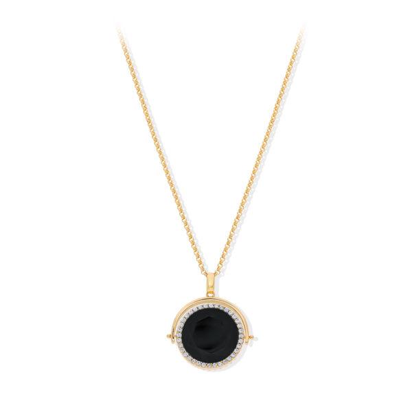 黑色水晶金双面纪念章项链1
