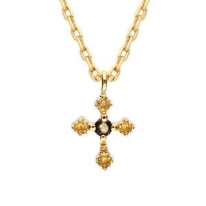 金项链小烟熏石英十字架2