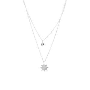 密钉史特拉纪念章镶有白色锆石的双银项链5