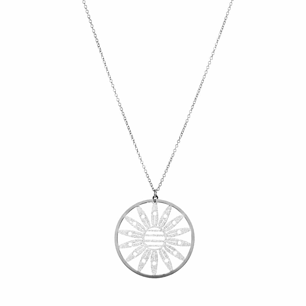 Collier fleur marguerite argent glitter blanc 3