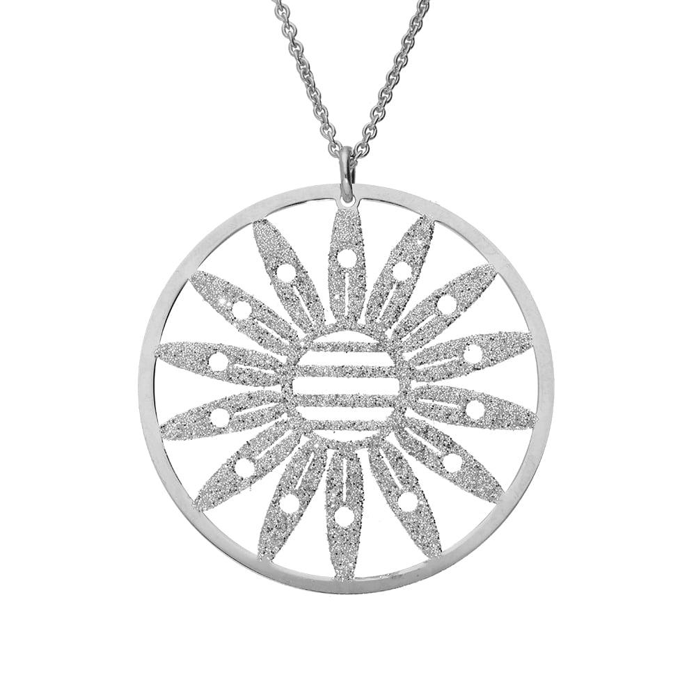 Collier fleur marguerite argent glitter blanc 4