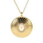 Collier médaillon argent doré élisabeth pierre nacre blanche 5