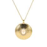 Collier médaillon argent doré élisabeth pierre nacre blanche 4