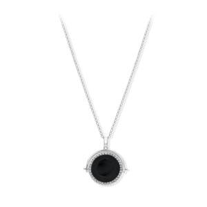双面黑色水晶银纪念章项链5