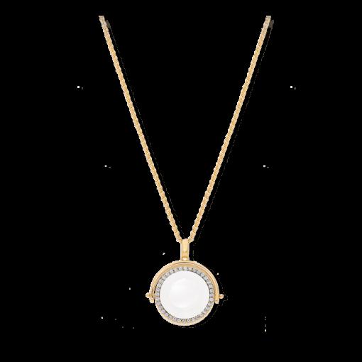 Collier médaillon double face doré cristal blanc 3