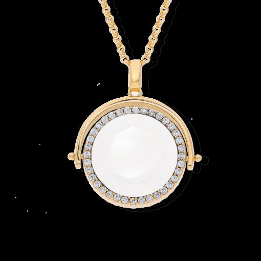 Dubbelsidigt medaljonghalsband i vitt kristallguld 4