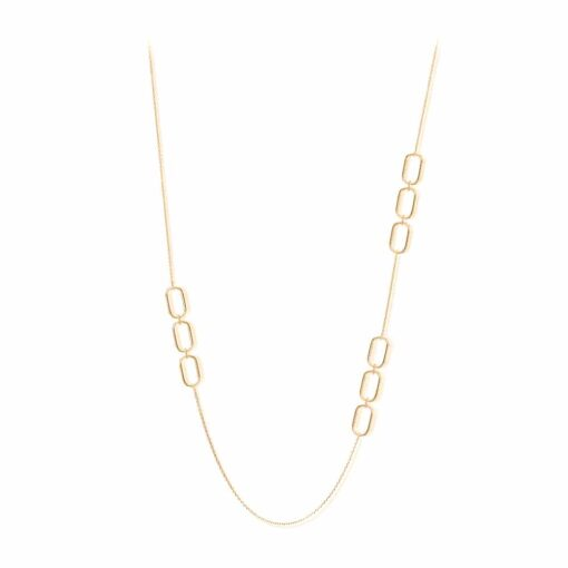Gold-plated silver long necklace olga set with black zircons 3