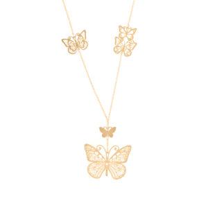 银色长项链蝴蝶图案金3