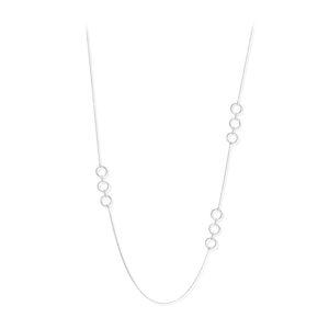 Élise镀铑银色长项链配白色锆石3