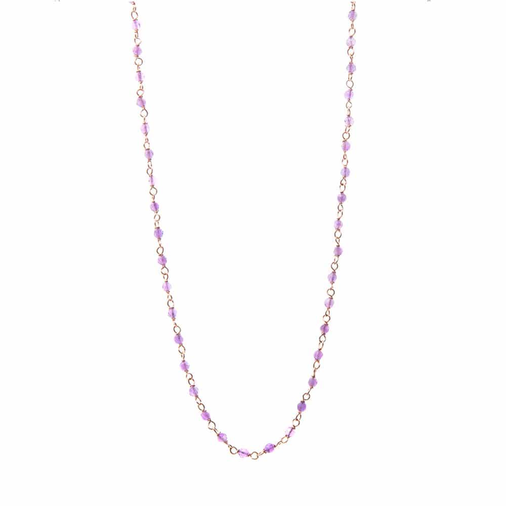 Collier sautoir perles multi-facettes améthyste 1
