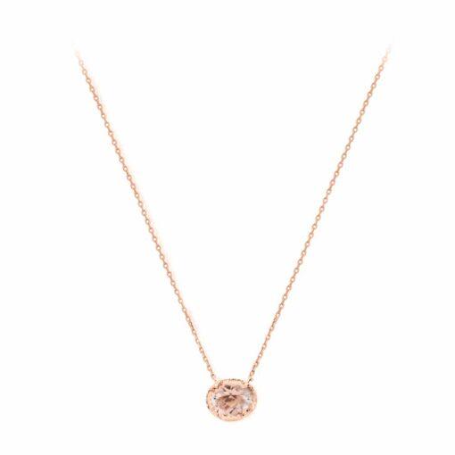 粉粉色水晶玫瑰单石项链3