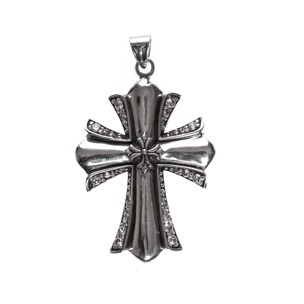 Croix rock argent pendentif sertie 2