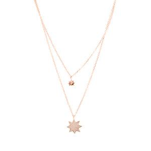 双项链银粉红色星星套装4