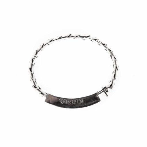 Gourmette bracelet moderne argent pierre blanche 4