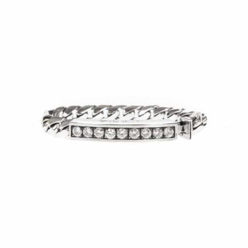 Gourmette bracelet moderne argent pierre blanche 3