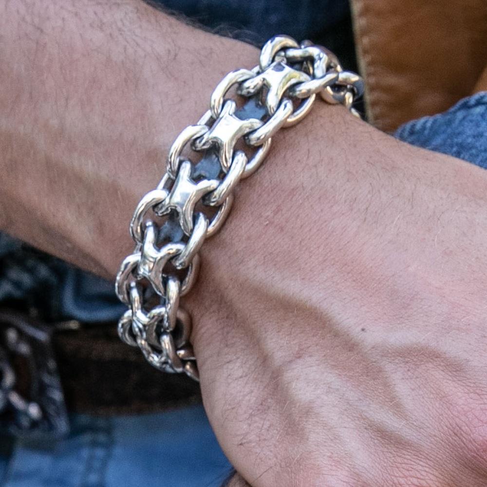 Gourmette homme bracelet argent rock grand modèle 4