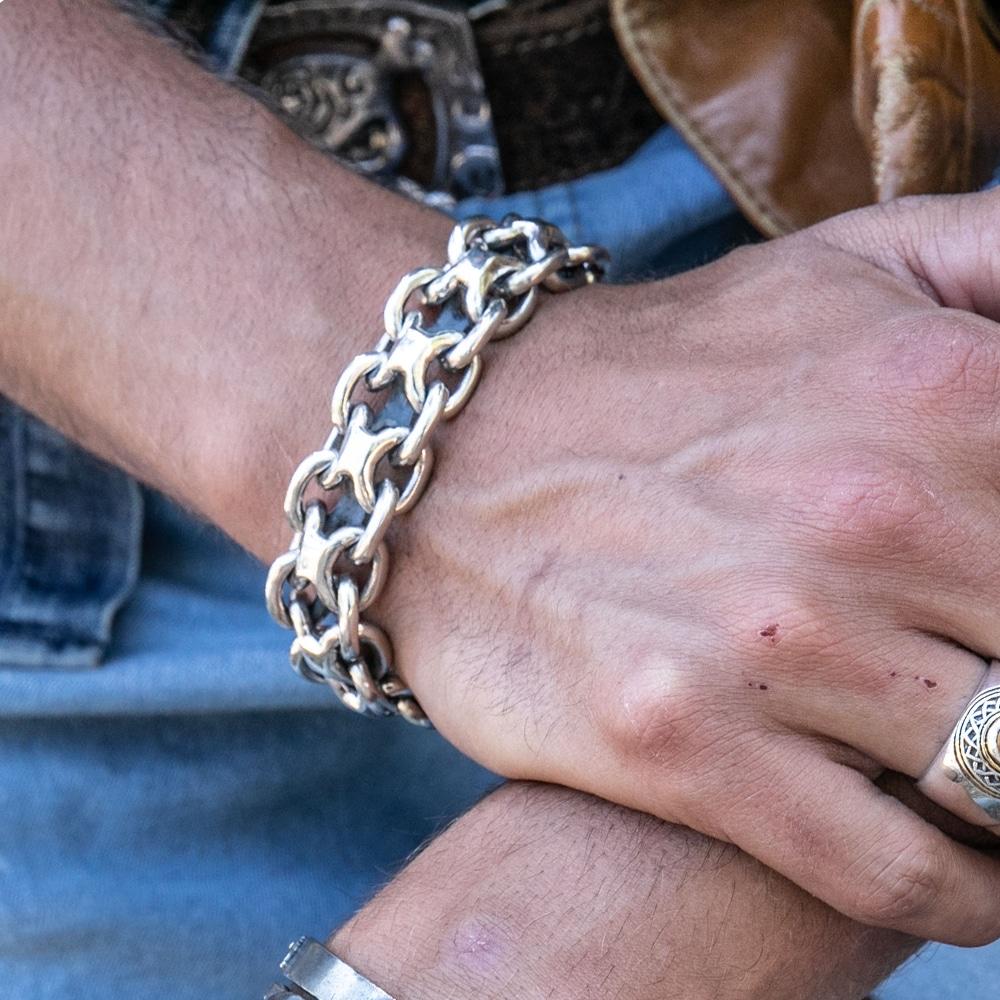 Gourmette homme bracelet argent rock grand modèle 6