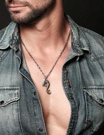 Offres pour les hommes en argent massif collier pendentif moderne 1