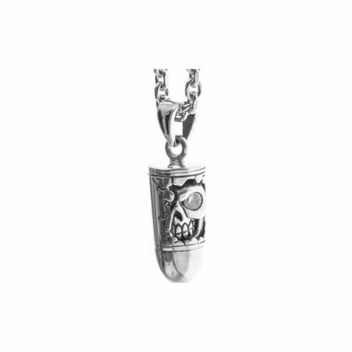 Zilveren doodskop ketting 3