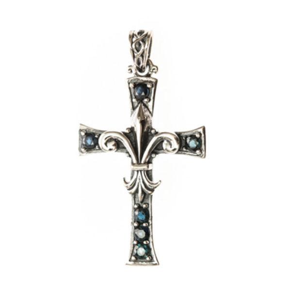 Pendentif argent croix de lys pierres bleues 1