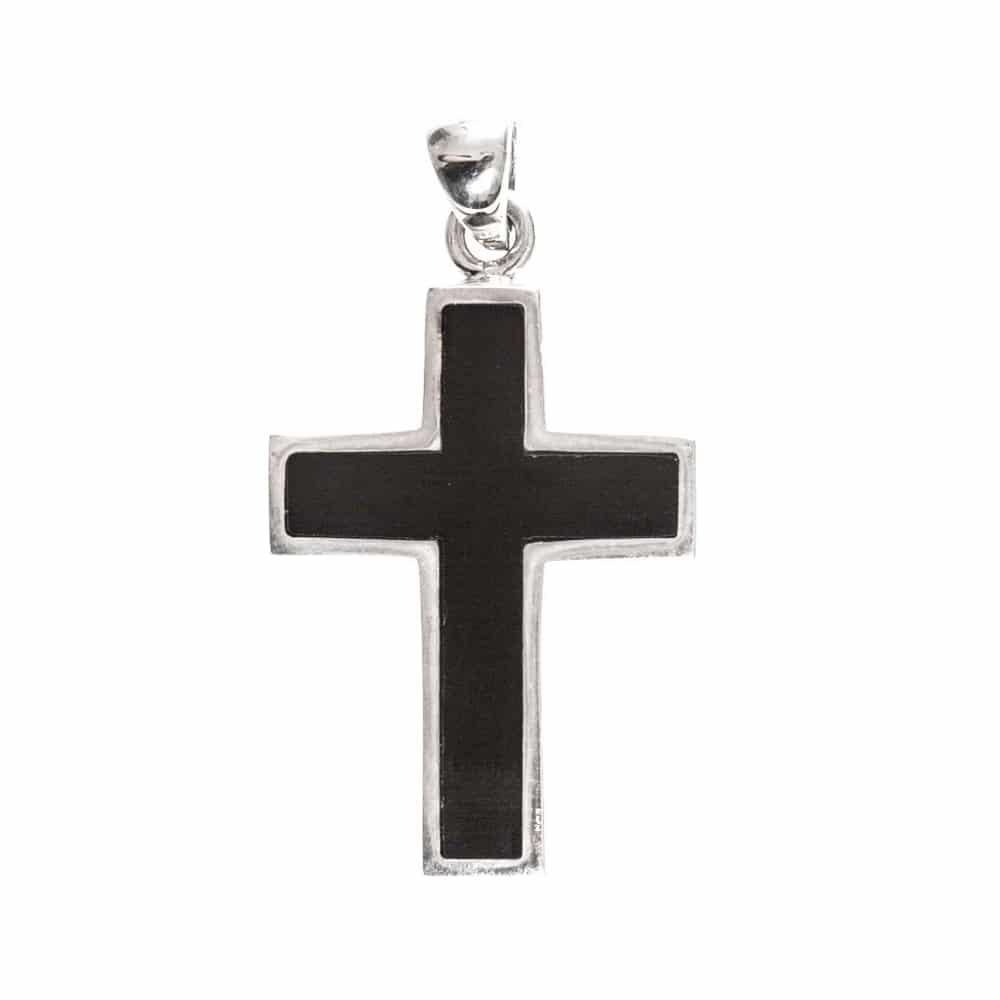 Pendentif croix pierre onyx noire argent 3