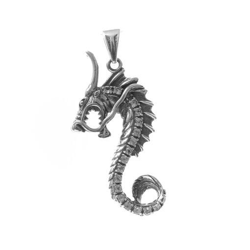 Zilveren drakenhanger witte steen 3